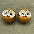 Vintage Owl Salt Pepper Shakers Anthropomorphic w Stoppers