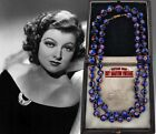 VINTAGE ART DECO VENETIAN MURANO STAR CANE BEADS NECKLACE RED WHITE BLUE GIFT