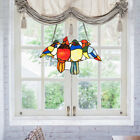 145 Stained Glass Birds Window Panel Tiffany Hanging SunCatcher w Chain