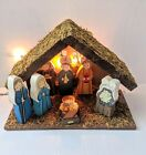 Childrens Lighted Nativity Set 8 Piece Wooden Manger Christmas Wooden Figures