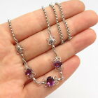 925 Sterling Vintage Amethyst Tone Glass Swirl Design Rolo Chain Necklace 15