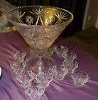 Vintage Star of David Crystal Punch Bowl Set W 12 cups bowl Stand USA