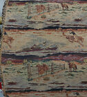 ulphostery Fabric vintage horses and cowboys design 54 wide sold by yard