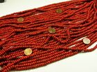 15 Strands 32 Coral Red 4mm x 6mm Nepal Handmade Glass Beads Lot NP 1