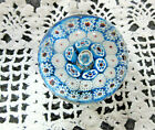 Vintage Murano Millefiori Venetian Nice Size Blue White Red Paperweight Italy
