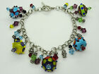 Sterling Silver Charm Bracelet Multi Color Murano Glass  Crystal BeadsToggle