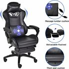 Massage Gaming Chair Racing Office Computer Desk Swivel Seat Leather Recliner