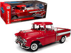 1957 Chevrolet Cameo Pickup Truck Cardinal Red and White 1 18 Diecast Model Car