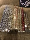 13 Vintage MCM CLEAR LUCITE SILVER Gold Red Copper Fleck FAUX TAPER CANDLES 1960