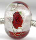Red Roses Focal Mandy Ramsdell 925 silver european charm bead lampwork glass