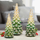 LED Glass Holiday Trees Set of 3 Different Heights Christmas Decorations