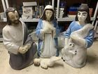 RARE Vintage Beco Blow Mold Nativity 34Shepherd Holding Lamb Jesus Mary Joseph