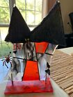 fused glass art Halloween unique haunted house by Shellie