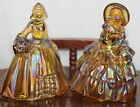 Vintage 2 Fenton Gold Carnival Glass Southern Belle Ladies Both 5 Tall