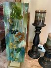 Fused glass art display Fall Flowers by Shellie with stand