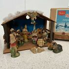 Vintage Sears Musical Nativity Set Creche Japan 14 Piece Paper Mache Japan
