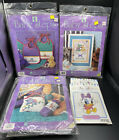 Lot 7 Baby Steps Cross Stitch Kits Bib Set Birth Announcement Bottle Cover 1994