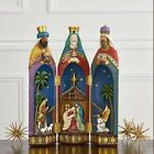 Nativity Tri Fold 16 Figurine Three Kings Hand crafted Hand painted Christmas
