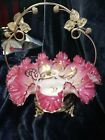 Antique Victorian Pink Cased Hand Blown Glass Ruffled Dish hand painted w gold