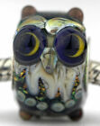 Moon Owl glass fit european charm bead Mandy Ramsdell sterling silver lampwork