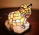 Tiffany Style Stained Glass Cat Lamp with new cord Has switch in cord