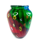 Vintage Millefiori Murano Heavy Large 10 Art Glass Studio Vase Made in Italy
