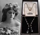 ANTIQUE EDWARDIAN ART DECO CLEAR CRYSTAL GLASS NEGLIGEE NECKLACE SIGNED CZECH