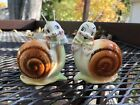 Vintage Enesco Glass Snappy The Snail Anthropomorphic Salt And Pepper Shakers
