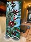 Fused glass art display Christmas Flowers by Shellie with stand