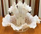 Fenton Opalescent Hobnail Glass Epergne Centerpiece with 3 flutes 9 diameter