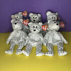 Lot of 6 THE BEGINNING TY BEAR BEANIE BABY SILVER STAR 8