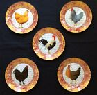 Set 5 Decorative Wall ROOSTER HEN Plates 8 Round Decoupage Signed Marye Kelley