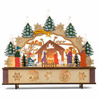 LED Nativity Scene With Candles Tan Evergreen and Red 12 Inches Wood Figurine