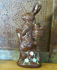 Faux Chocolate Easter Bunny Rabbit w pink  blue Flowers Resin NEW
