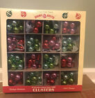 NEW CHRISTOPHER RADKO SHINY BRITE PINK RED GREEN GLASS 16 CLUSTERS ORNAMENTS