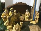 Vintage Nativity 11 piece and A Bonus Manger Made In Japan has wear