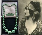 VINTAGE ART DECO VENETIAN GLASS MINT GREEN CHUNKY BEADS END OF DAY NECKLACE GIFT