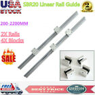 2x Sbr20 Slide Guide Shaft 200-2200mm Linear Rail Rod Sbr20uu Block Bearing Cnc