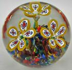 Lovely Vintage Gentile Glass Co 1976 Paperweight Millefiori Floral Yellow Petals