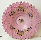 VICTORIAN BRIDES BOWL OPAQUE PINK GLASS SCALLOPED EDGE HAND PAINTED HAND BLOWN
