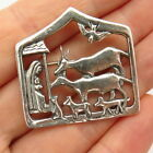 925 Sterling Silver Vintage Nativity Scene of Jesus Christmas Pin Brooch