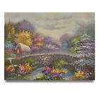 NY Art Thomas Kinkade Style Landscape 12x16 Original Oil Painting on Canvas