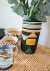 Black + Neon Abstract Vase with Glass Insert