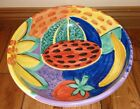 Pier1 Hand Painted Round fruit bowl 15 round RARE Bowl dish hard to find pier 1