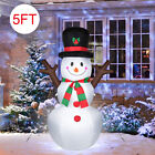 5FT Christmas Inflatable SnowmanSanta Claus Air Blown LED Light Outdoor Decor