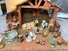 Vintage 17 Pc Grandeur Noel Porcelain Nativity Accessories Set w Wood Creche