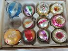 11 Vintage Glass Christmas tree Ornaments Indented Hand Painted Poland unmarked