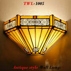 Antique Tiffany Style Wall Lamp Lamps Stained Glass Handcrafted Light Uplighter