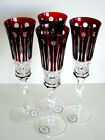 4 AJKA FABERGE XENIA RUBY RED CASED CUT TO CLEAR CHAMPAGNE FLUTE S