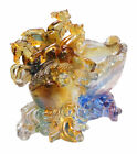 Chinese Crystal Glass Liuli Pate de verre Horses Display cs119